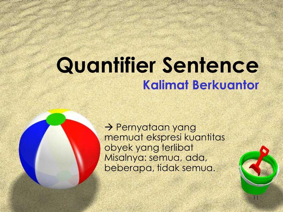 11 Quantifier Sentence Kalimat Berkuantor  Pernyataan yang memuat ekspresi kuantitas obyek yang terlibat Misalnya: semua, ada, beberapa, tidak semua.