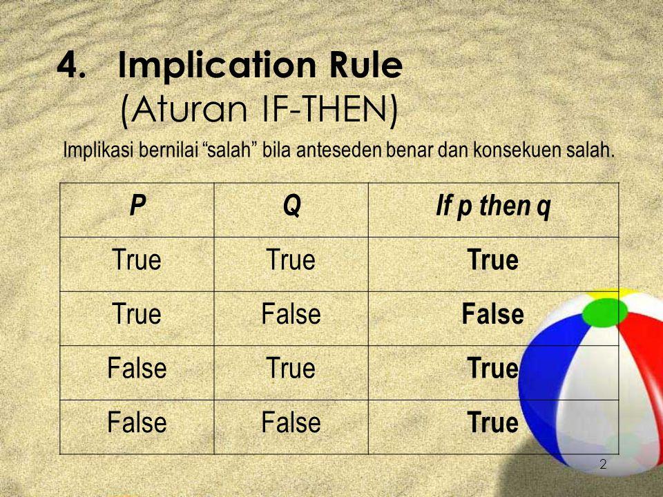 2 4.Implication Rule (Aturan IF-THEN) Implikasi bernilai salah bila anteseden benar dan konsekuen salah.