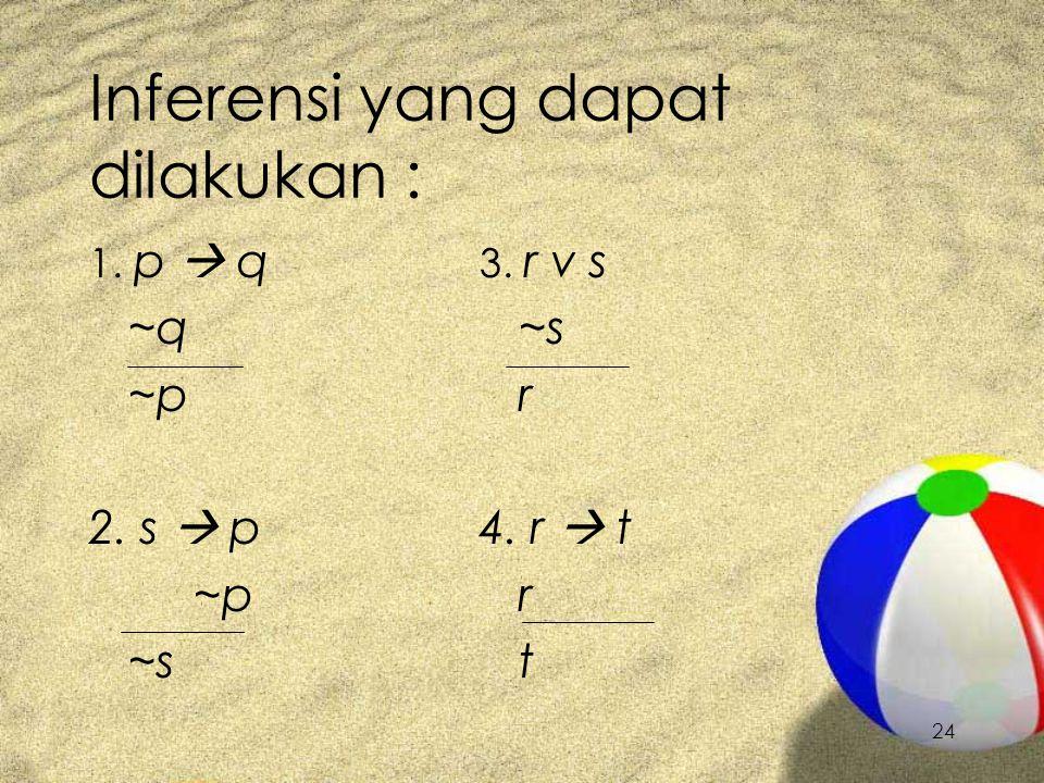 24 Inferensi yang dapat dilakukan : 1. p  q ~q ~p 2. s  p ~p ~s 3. r v s ~s r 4. r  t r t