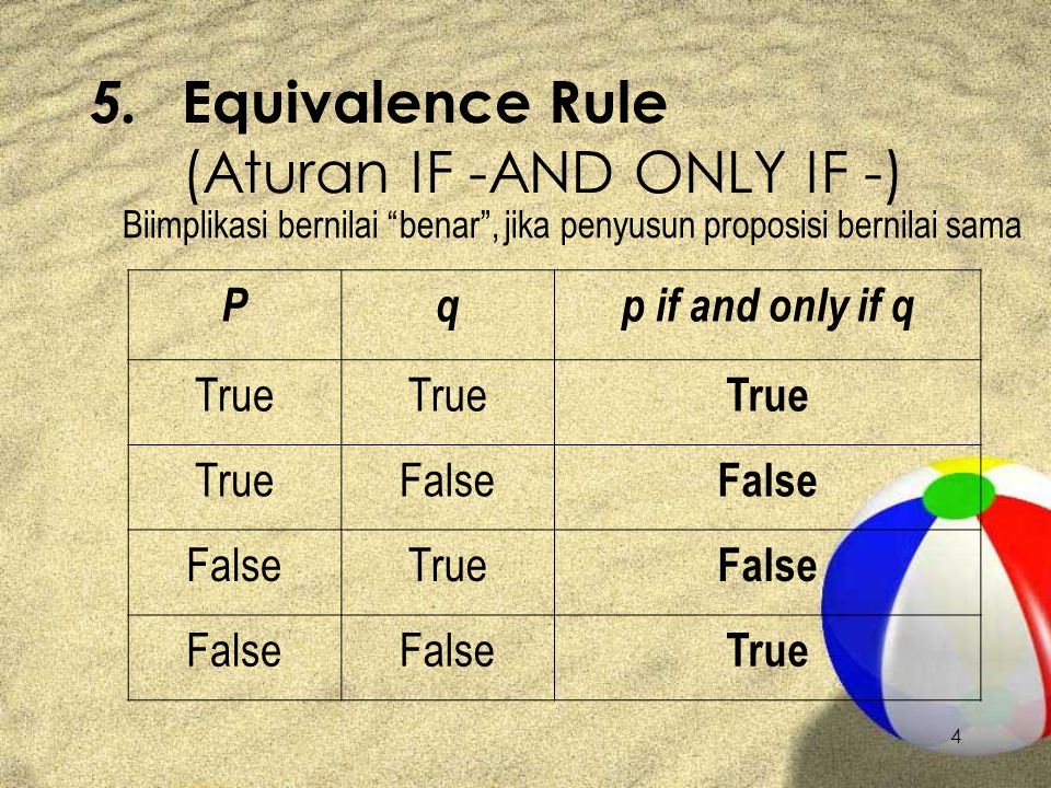 "4 5. Equivalence Rule (Aturan IF -AND ONLY IF -) Biimplikasi bernilai ""benar"", jika penyusun proposisi bernilai sama Pqp if and only if q True False T"