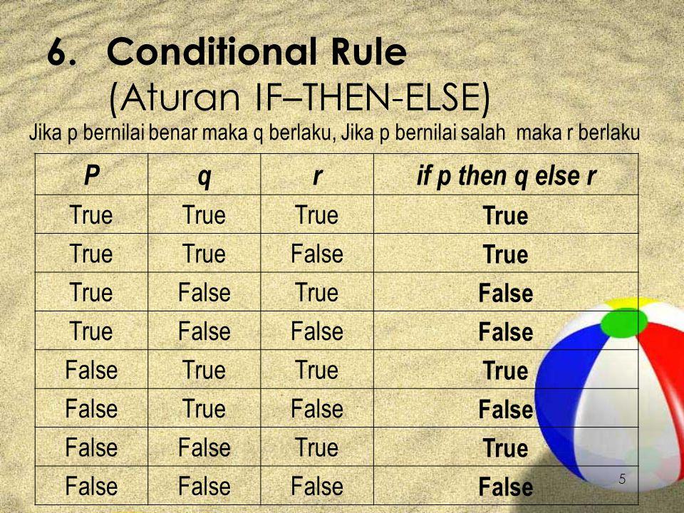 5 6.Conditional Rule (Aturan IF–THEN-ELSE) Jika p bernilai benar maka q berlaku, Jika p bernilai salah maka r berlaku Pqrif p then q else r True False