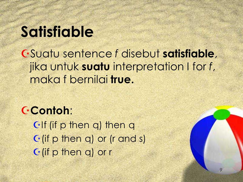 9 Satisfiable ZSZSuatu sentence f disebut satisfiable, jika untuk suatu i nterpretation I for f, maka f bernilai true. ZCZContoh : ZIZIf (if p then q)