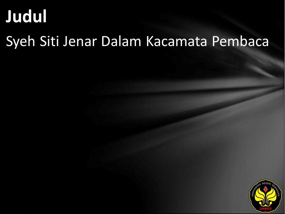 Judul Syeh Siti Jenar Dalam Kacamata Pembaca