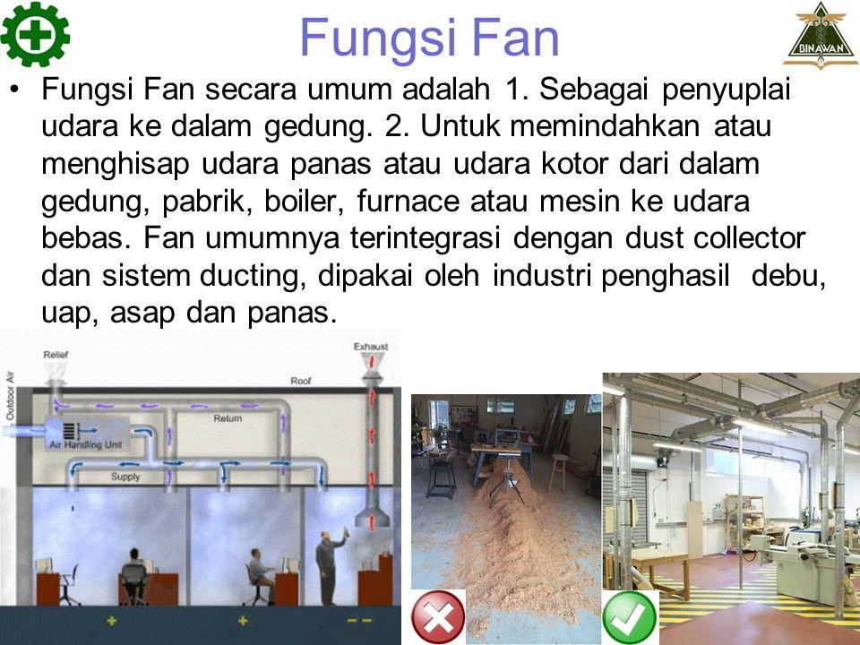 Fungsi Fan Fungsi Fan secara umum adalah 1. Sebagai penyuplai udara ke dalam gedung. 2. Untuk memindahkan atau menghisap udara panas atau udara kotor