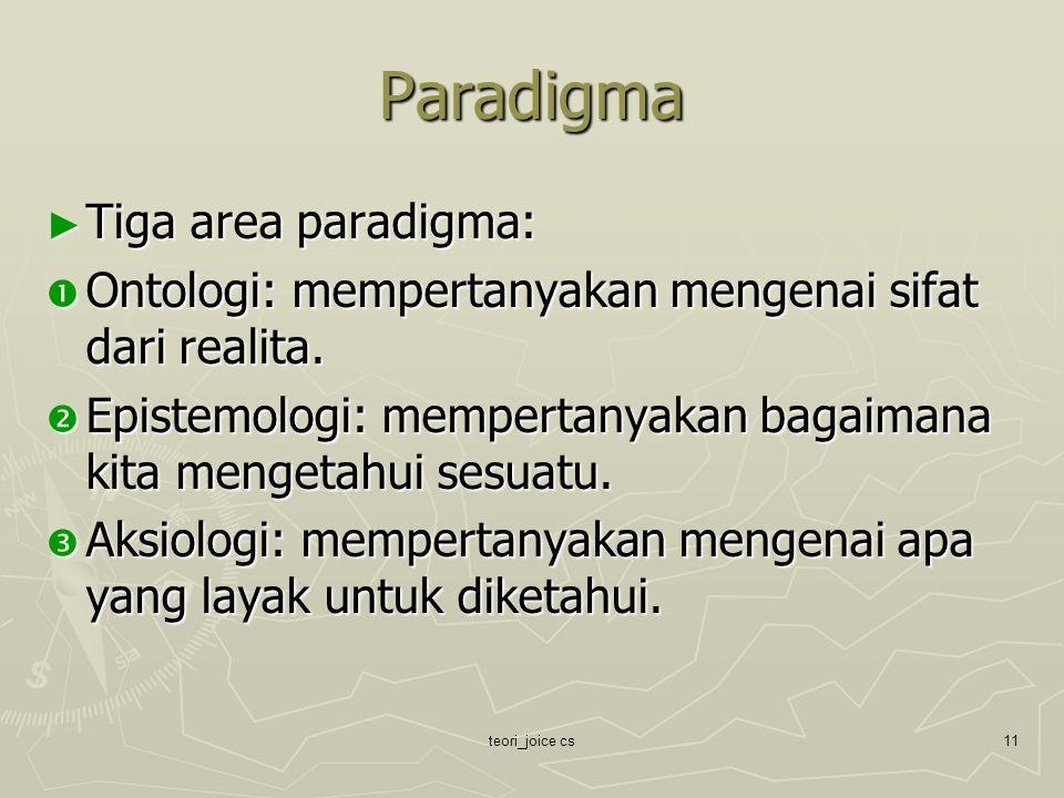 teori_joice cs11 Paradigma ► Tiga area paradigma:  Ontologi: mempertanyakan mengenai sifat dari realita.  Epistemologi: mempertanyakan bagaimana kit