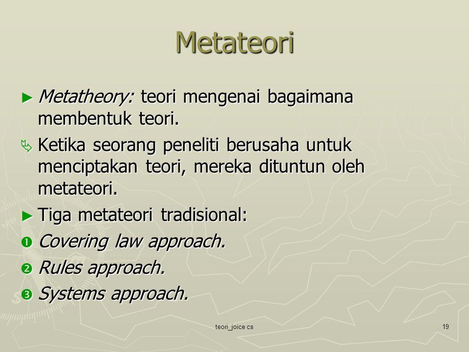 teori_joice cs19 Metateori ► Metatheory: teori mengenai bagaimana membentuk teori.  Ketika seorang peneliti berusaha untuk menciptakan teori, mereka
