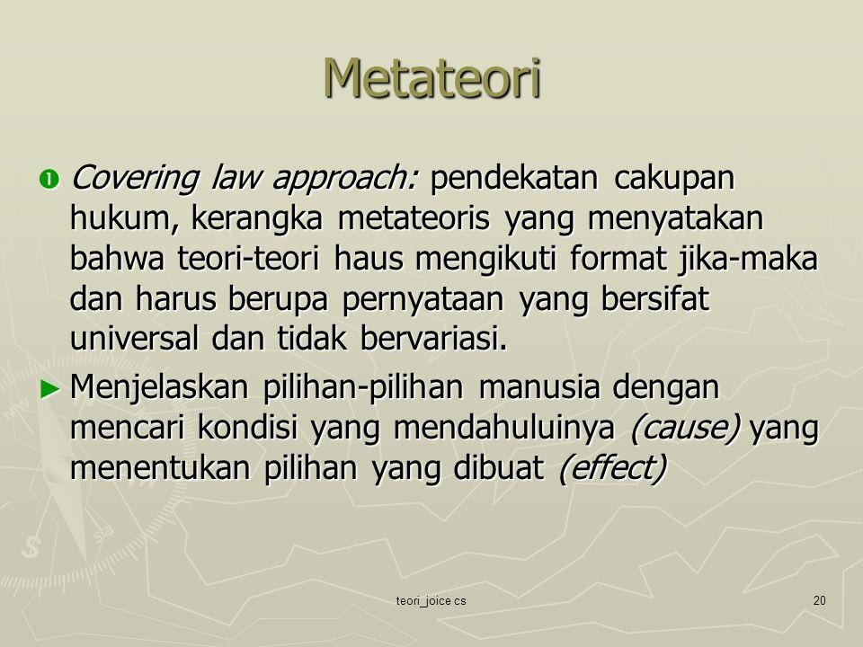teori_joice cs20 Metateori  Covering law approach: pendekatan cakupan hukum, kerangka metateoris yang menyatakan bahwa teori-teori haus mengikuti for