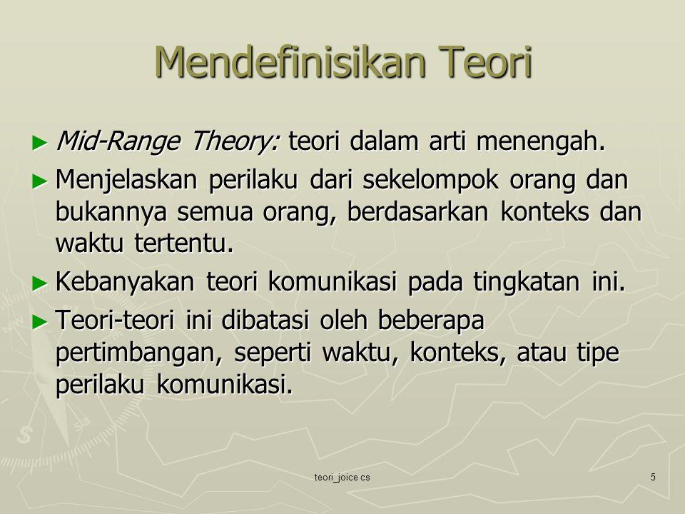 teori_joice cs5 Mendefinisikan Teori ► Mid-Range Theory: teori dalam arti menengah. ► Menjelaskan perilaku dari sekelompok orang dan bukannya semua or