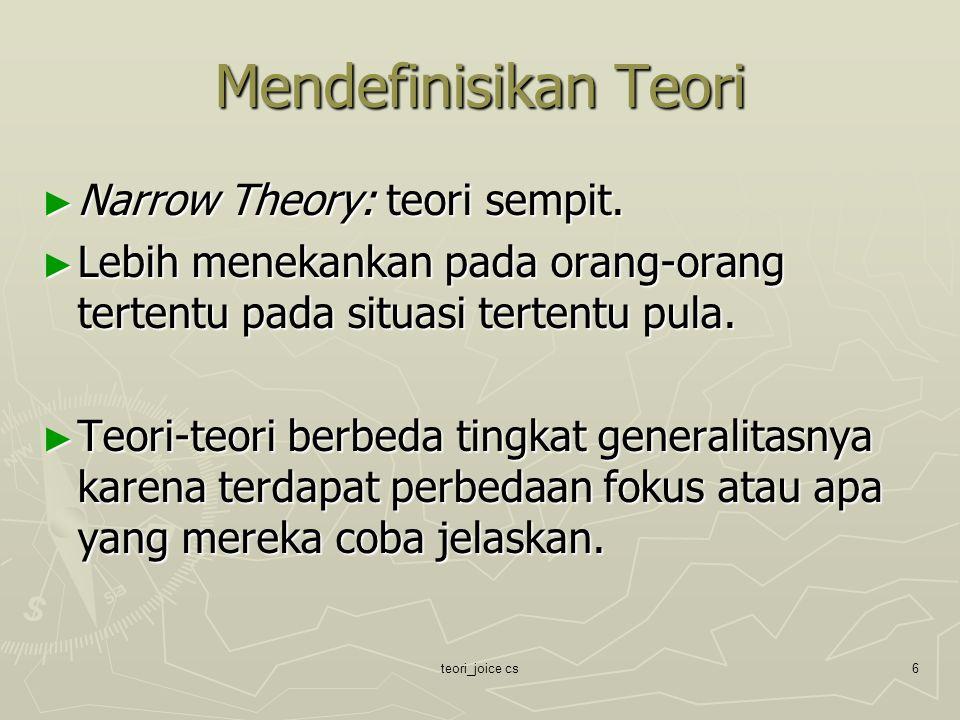 teori_joice cs6 Mendefinisikan Teori ► Narrow Theory: teori sempit. ► Lebih menekankan pada orang-orang tertentu pada situasi tertentu pula. ► Teori-t