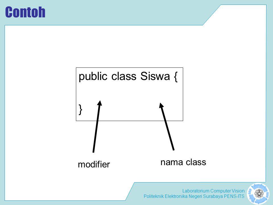 Laboratorium Computer Vision Politeknik Elektronika Negeri Surabaya PENS-ITS Contoh public class Siswa { } nama class modifier
