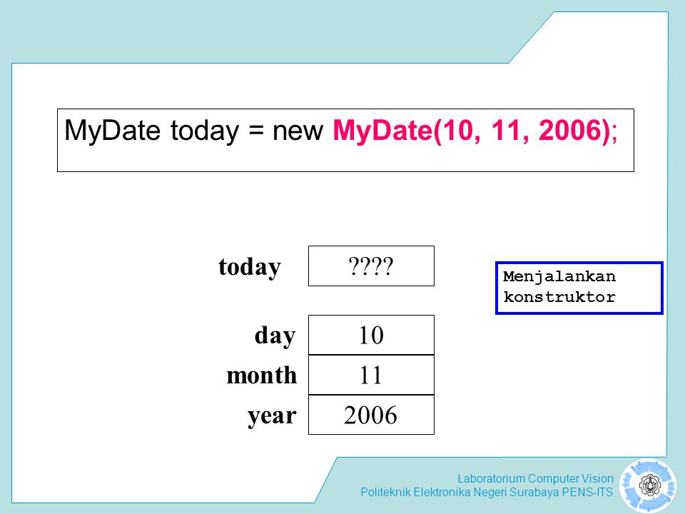 Laboratorium Computer Vision Politeknik Elektronika Negeri Surabaya PENS-ITS MyDate today = new MyDate(10, 11, 2006); ???? today 10 11 2006 day month