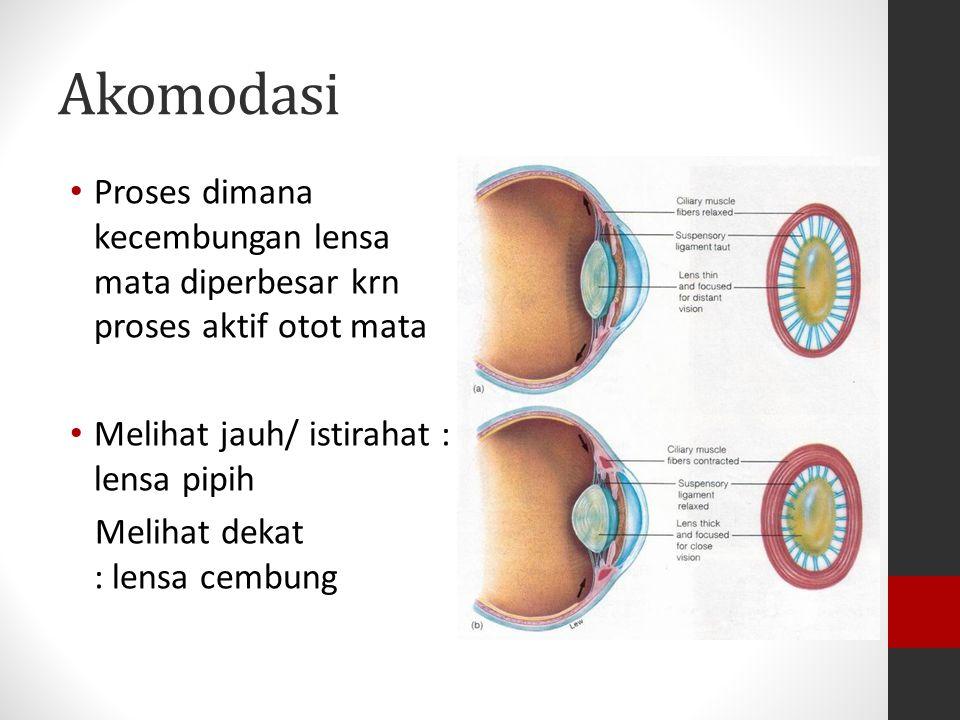 CACAT MATA Yaitu terjadi ketidaknormalan pada mata, dan dapat di atasi dengan memakai kacamata, lensa kontak atau melalui suatu operasi JENISNYA Rabun Jauh (Miopi) Rabun Dekat (Hipermetropi) Mata Tua (Presbiop) Astigmatisma Katarak dan Glaucoma Buta Warna