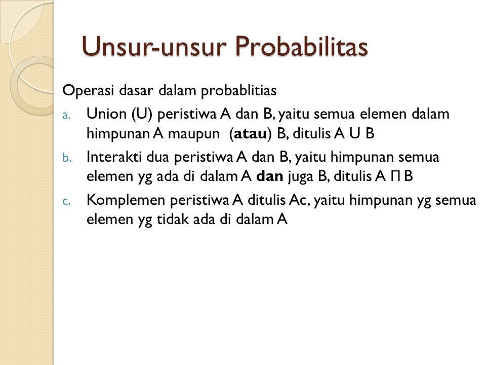 Unsur-unsur Probabilitas Operasi dasar dalam probablitias a. Union (U) peristiwa A dan B, yaitu semua elemen dalam himpunan A maupun (atau) B, ditulis