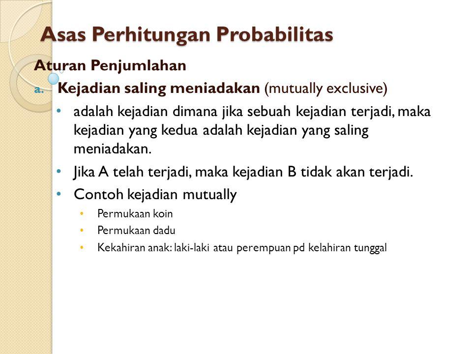 Asas Perhitungan Probabilitas Aturan Penjumlahan a. Kejadian saling meniadakan (mutually exclusive) adalah kejadian dimana jika sebuah kejadian terjad
