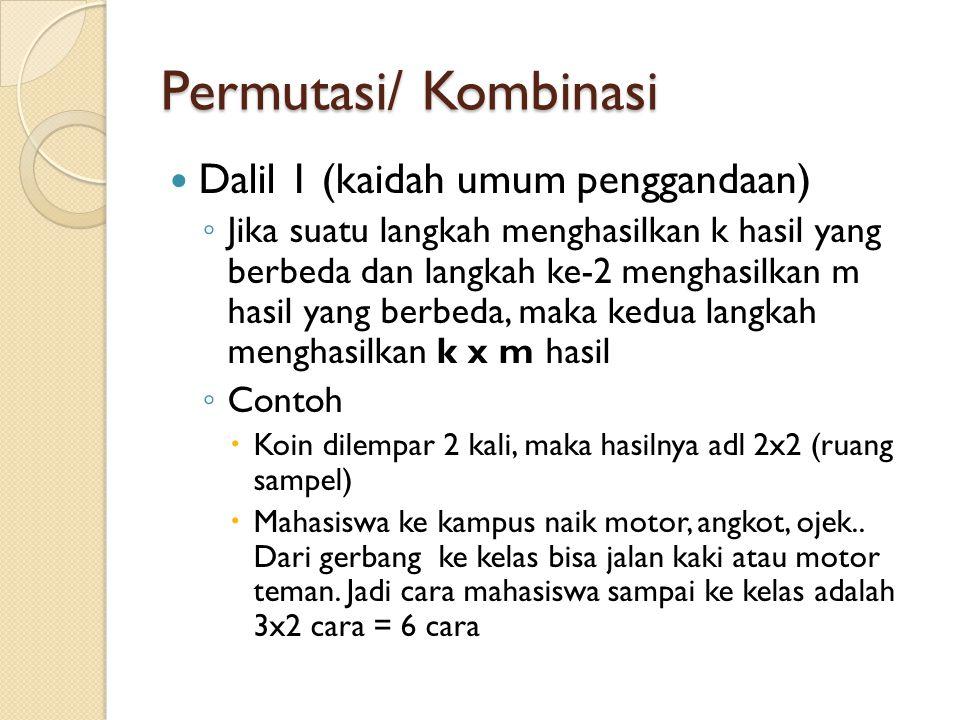 Permutasi/ Kombinasi Dalil 1 (kaidah umum penggandaan) ◦ Jika suatu langkah menghasilkan k hasil yang berbeda dan langkah ke-2 menghasilkan m hasil ya