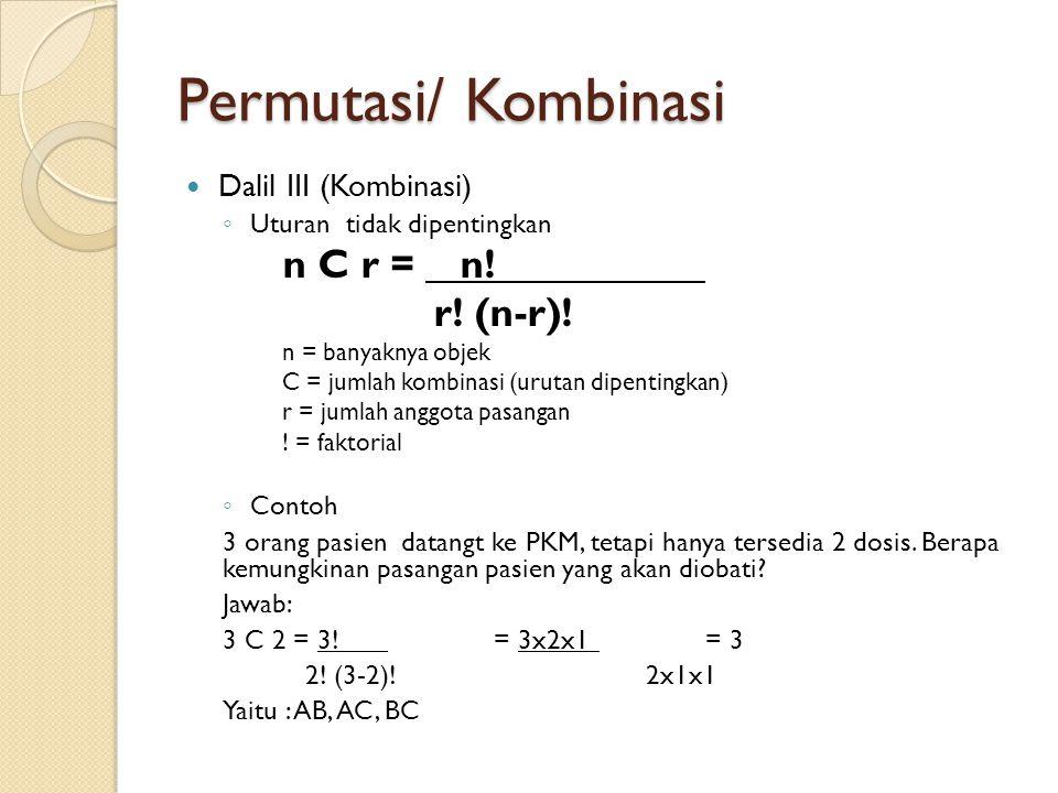 Permutasi/ Kombinasi Dalil III (Kombinasi) ◦ Uturan tidak dipentingkan n C r = n! r! (n-r)! n = banyaknya objek C = jumlah kombinasi (urutan dipenting