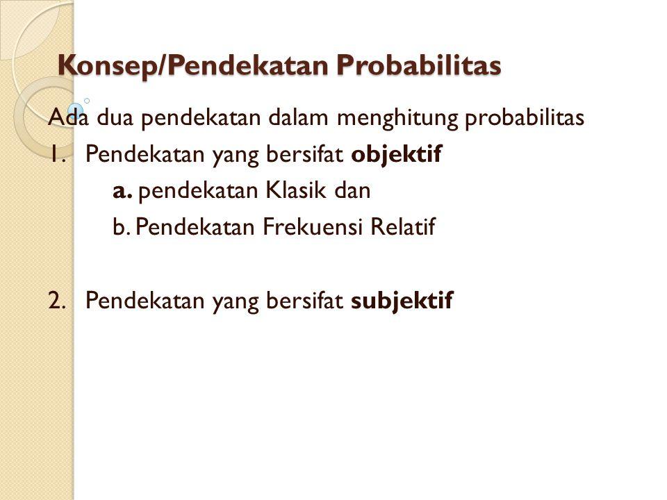 Konsep/Pendekatan Probabilitas Ada dua pendekatan dalam menghitung probabilitas 1. Pendekatan yang bersifat objektif a. pendekatan Klasik dan b. Pende