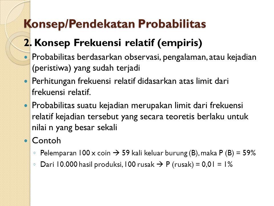 2. Konsep Frekuensi relatif (empiris) Probabilitas berdasarkan observasi, pengalaman, atau kejadian (peristiwa) yang sudah terjadi Perhitungan frekuen