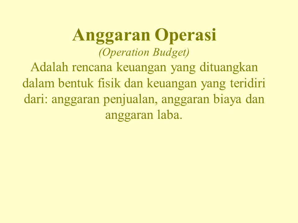 Anggaran Operasi (Operation Budget) Adalah rencana keuangan yang dituangkan dalam bentuk fisik dan keuangan yang teridiri dari: anggaran penjualan, an