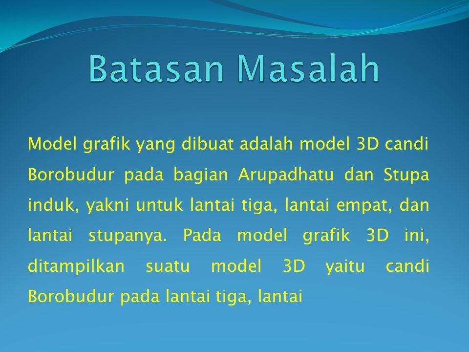 Model grafik yang dibuat adalah model 3D candi Borobudur pada bagian Arupadhatu dan Stupa induk, yakni untuk lantai tiga, lantai empat, dan lantai stupanya.