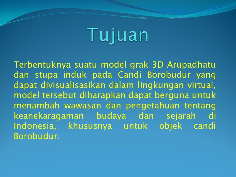 Terbentuknya suatu model grak 3D Arupadhatu dan stupa induk pada Candi Borobudur yang dapat divisualisasikan dalam lingkungan virtual, model tersebut diharapkan dapat berguna untuk menambah wawasan dan pengetahuan tentang keanekaragaman budaya dan sejarah di Indonesia, khususnya untuk objek candi Borobudur.