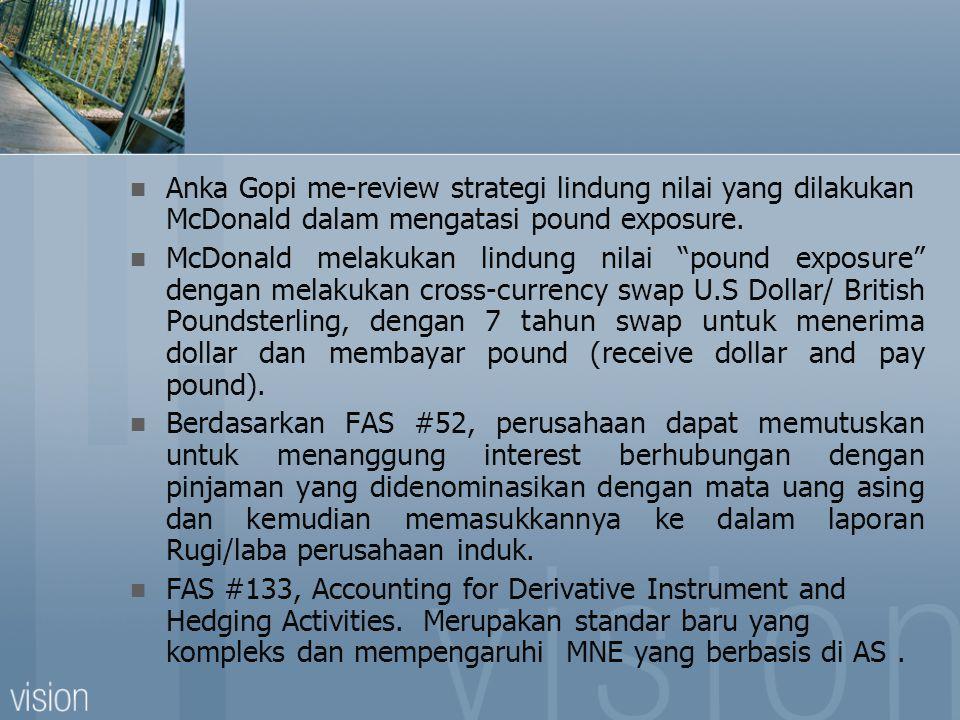 """Anka Gopi me-review strategi lindung nilai yang dilakukan McDonald dalam mengatasi pound exposure. McDonald melakukan lindung nilai """"pound exposure"""" d"""