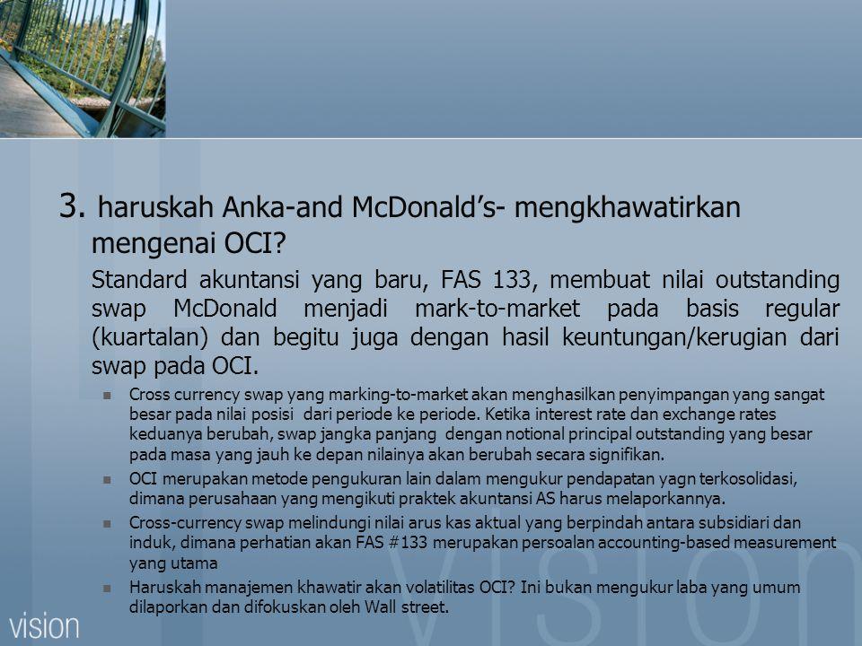 3. haruskah Anka-and McDonald's- mengkhawatirkan mengenai OCI? Standard akuntansi yang baru, FAS 133, membuat nilai outstanding swap McDonald menjadi