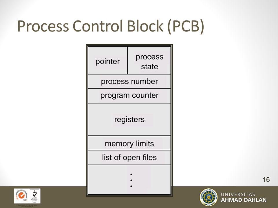 Informasi Proses Dimanakah informasi proses disimpan? Data struktur dari OS dalam bentuk table : Satu entry table/linked list => struktur data untuk m
