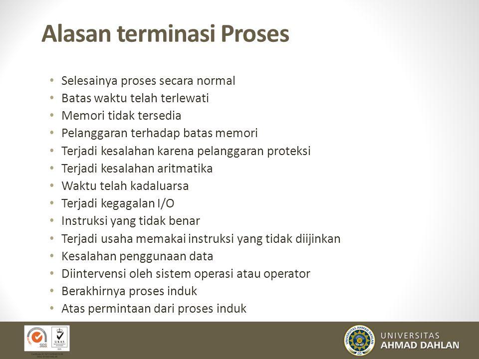 Kerjasama Proses Proses independent tidak mempengaruhi eksekusi proses yang lain Kerjasama proses dapat mempengaruhi atau dipengaruhi oleh eksekusi pr