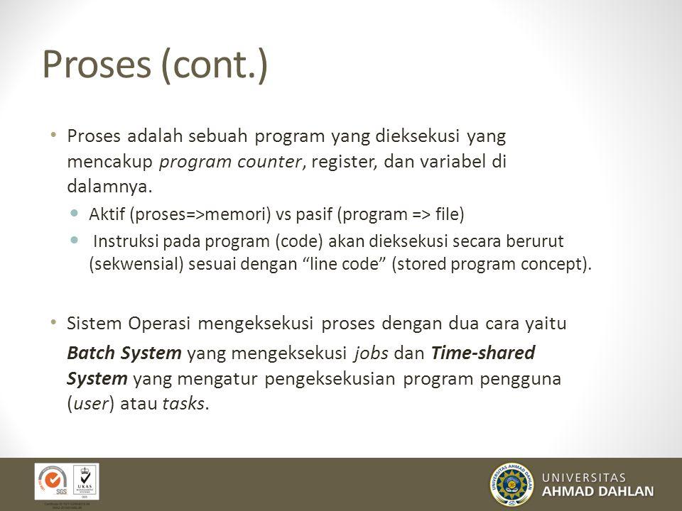 Proses Program yang sedang dieksekusi Istilah pada buku teks: job, task dan process (dapat diartikan sama) Proses tidak hanya sekedar suatu kode progr