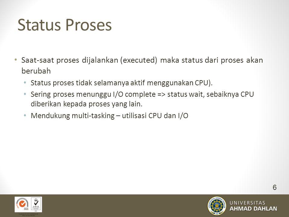 Terminasi Proses Suatu proses diterminasi ketika proses tersebut telah selesai mengeksekusi perintah terakhir serta meminta sistem operasi untuk mengh