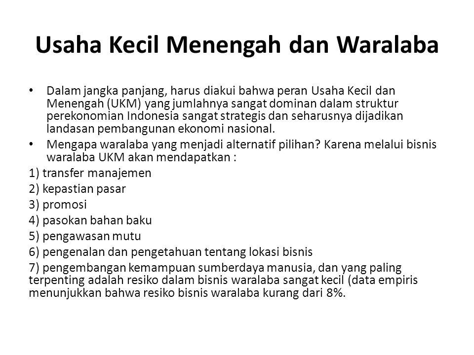 Usaha Kecil Menengah dan Waralaba Dalam jangka panjang, harus diakui bahwa peran Usaha Kecil dan Menengah (UKM) yang jumlahnya sangat dominan dalam struktur perekonomian Indonesia sangat strategis dan seharusnya dijadikan landasan pembangunan ekonomi nasional.