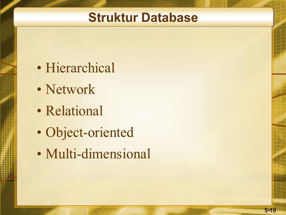 5-10 Struktur Database Hierarchical Network Relational Object-oriented Multi-dimensional