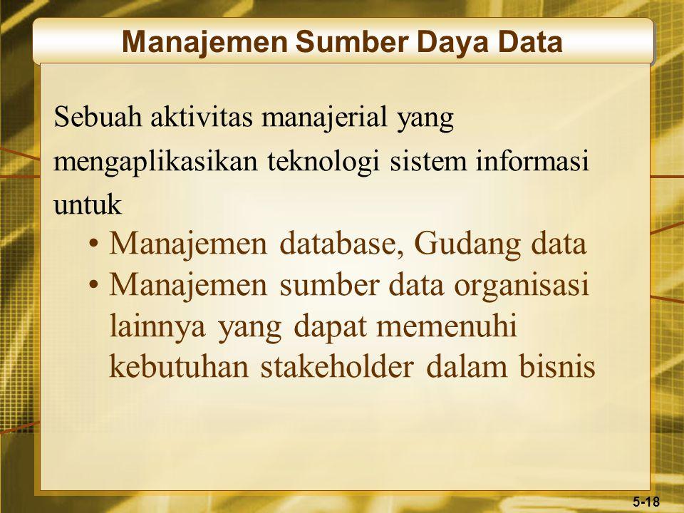 5-18 Manajemen Sumber Daya Data Sebuah aktivitas manajerial yang mengaplikasikan teknologi sistem informasi untuk Manajemen database, Gudang data Mana