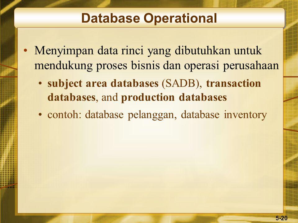 5-20 Database Operational Menyimpan data rinci yang dibutuhkan untuk mendukung proses bisnis dan operasi perusahaan subject area databases (SADB), transaction databases, and production databases contoh: database pelanggan, database inventory