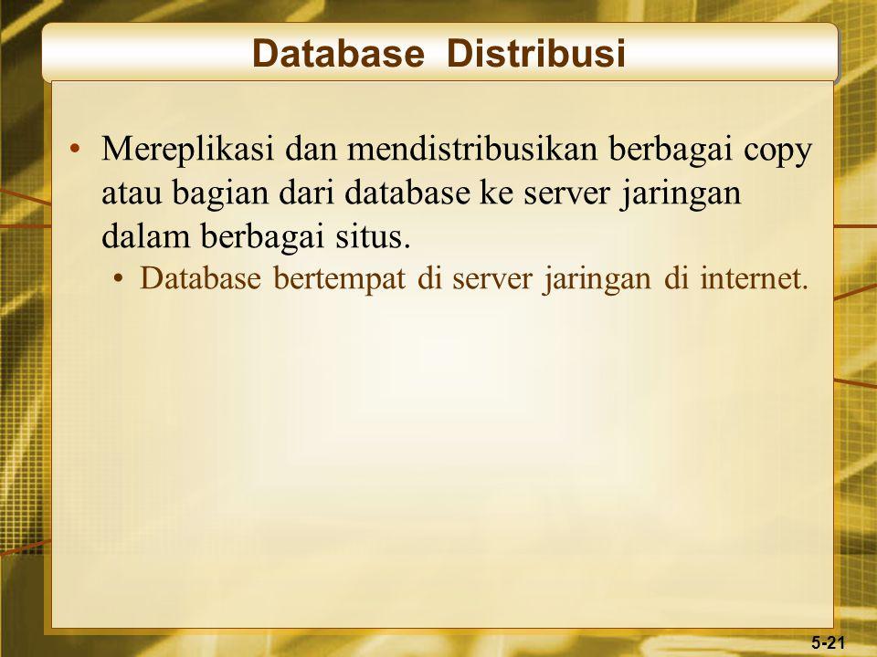 5-21 Database Distribusi Mereplikasi dan mendistribusikan berbagai copy atau bagian dari database ke server jaringan dalam berbagai situs. Database be
