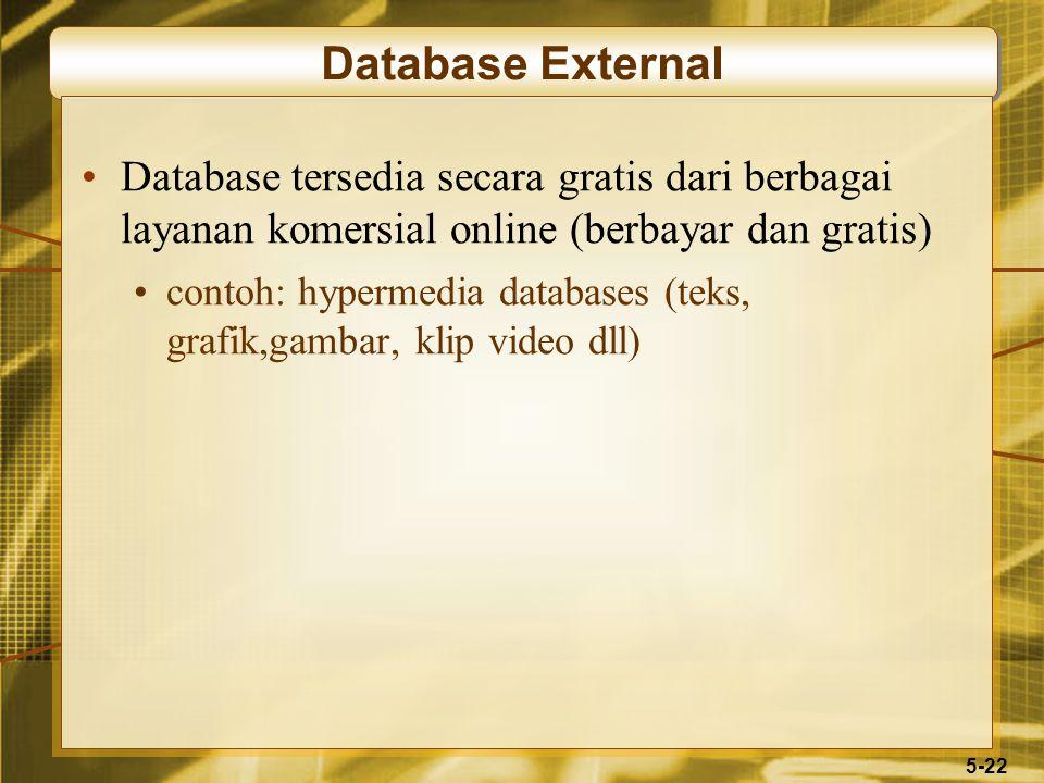 5-22 Database External Database tersedia secara gratis dari berbagai layanan komersial online (berbayar dan gratis) contoh: hypermedia databases (teks, grafik,gambar, klip video dll)
