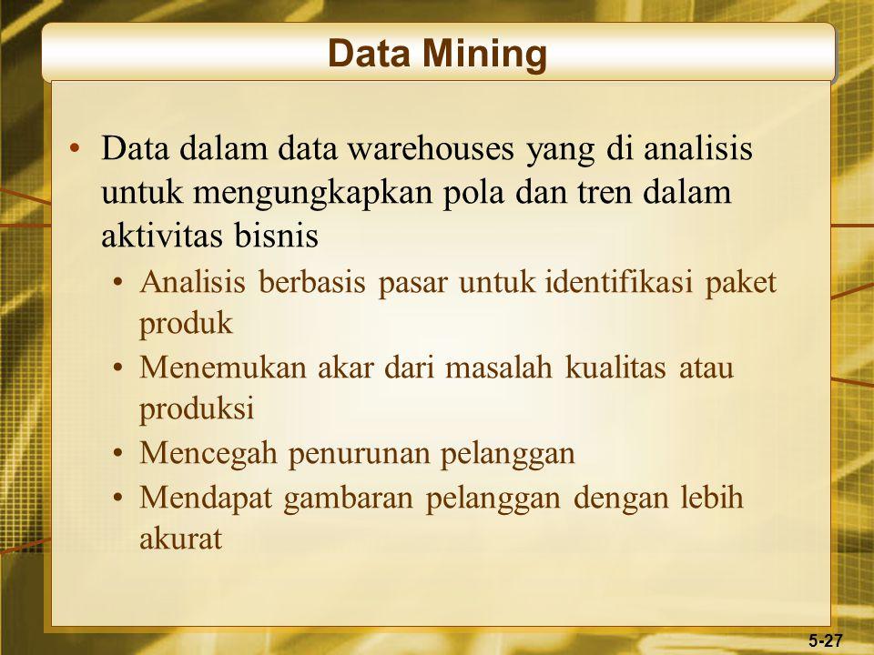 5-27 Data Mining Data dalam data warehouses yang di analisis untuk mengungkapkan pola dan tren dalam aktivitas bisnis Analisis berbasis pasar untuk id