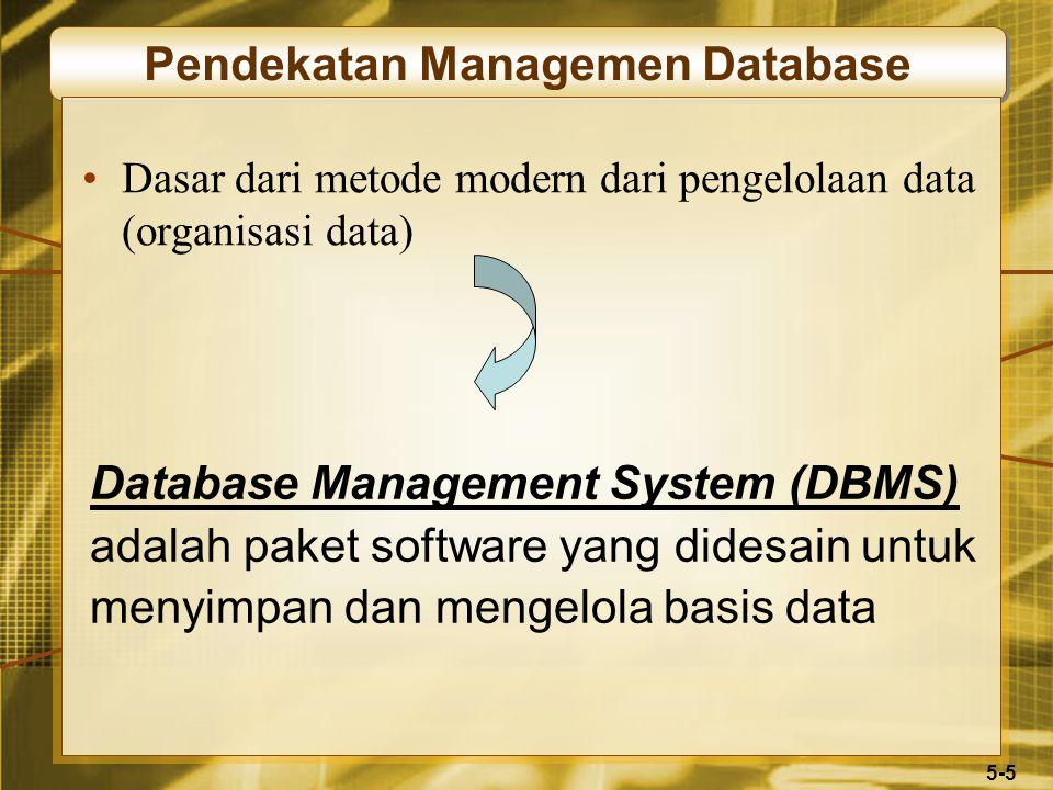 5-5 Pendekatan Managemen Database Dasar dari metode modern dari pengelolaan data (organisasi data) Database Management System (DBMS) adalah paket software yang didesain untuk menyimpan dan mengelola basis data