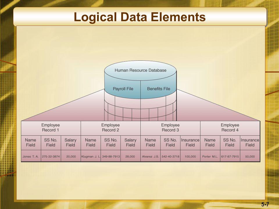 5-18 Manajemen Sumber Daya Data Sebuah aktivitas manajerial yang mengaplikasikan teknologi sistem informasi untuk Manajemen database, Gudang data Manajemen sumber data organisasi lainnya yang dapat memenuhi kebutuhan stakeholder dalam bisnis