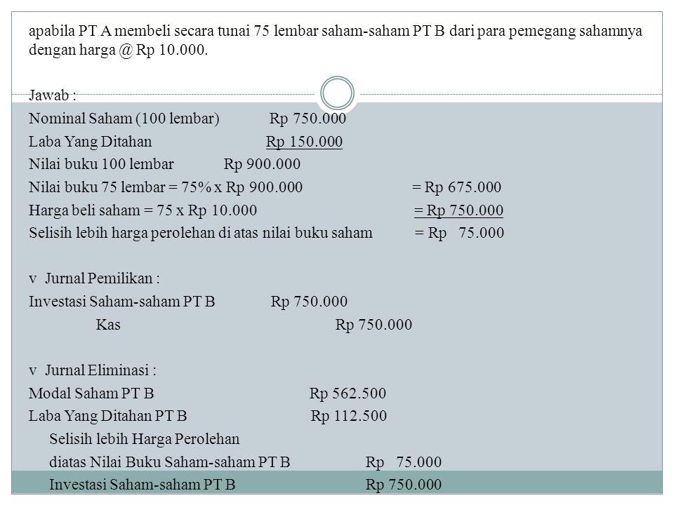 apabila PT A membeli secara tunai 75 lembar saham-saham PT B dari para pemegang sahamnya dengan harga @ Rp 10.000. Jawab : Nominal Saham (100 lembar)
