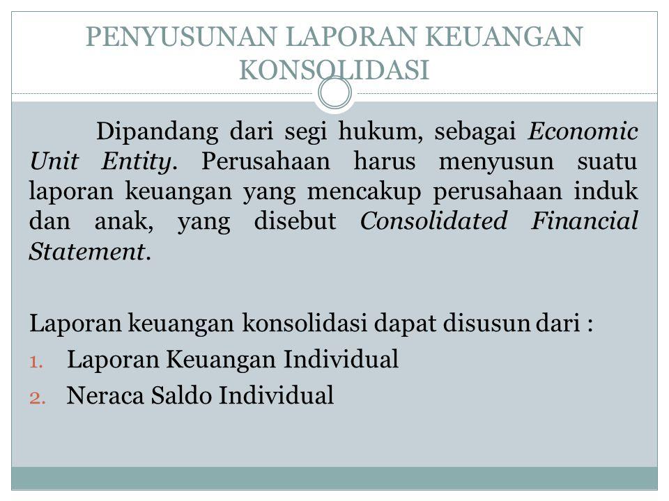 PENYUSUNAN LAPORAN KEUANGAN KONSOLIDASI Dipandang dari segi hukum, sebagai Economic Unit Entity. Perusahaan harus menyusun suatu laporan keuangan yang