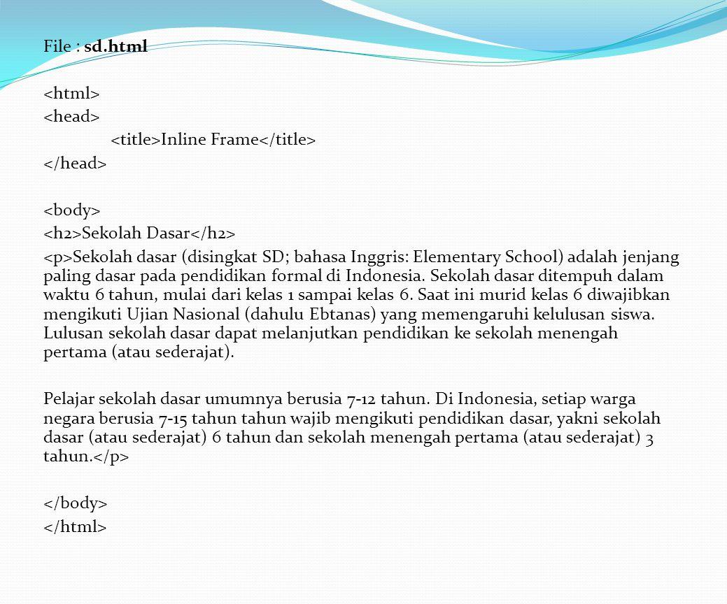 File : sd.html Inline Frame Sekolah Dasar Sekolah dasar (disingkat SD; bahasa Inggris: Elementary School) adalah jenjang paling dasar pada pendidikan formal di Indonesia.