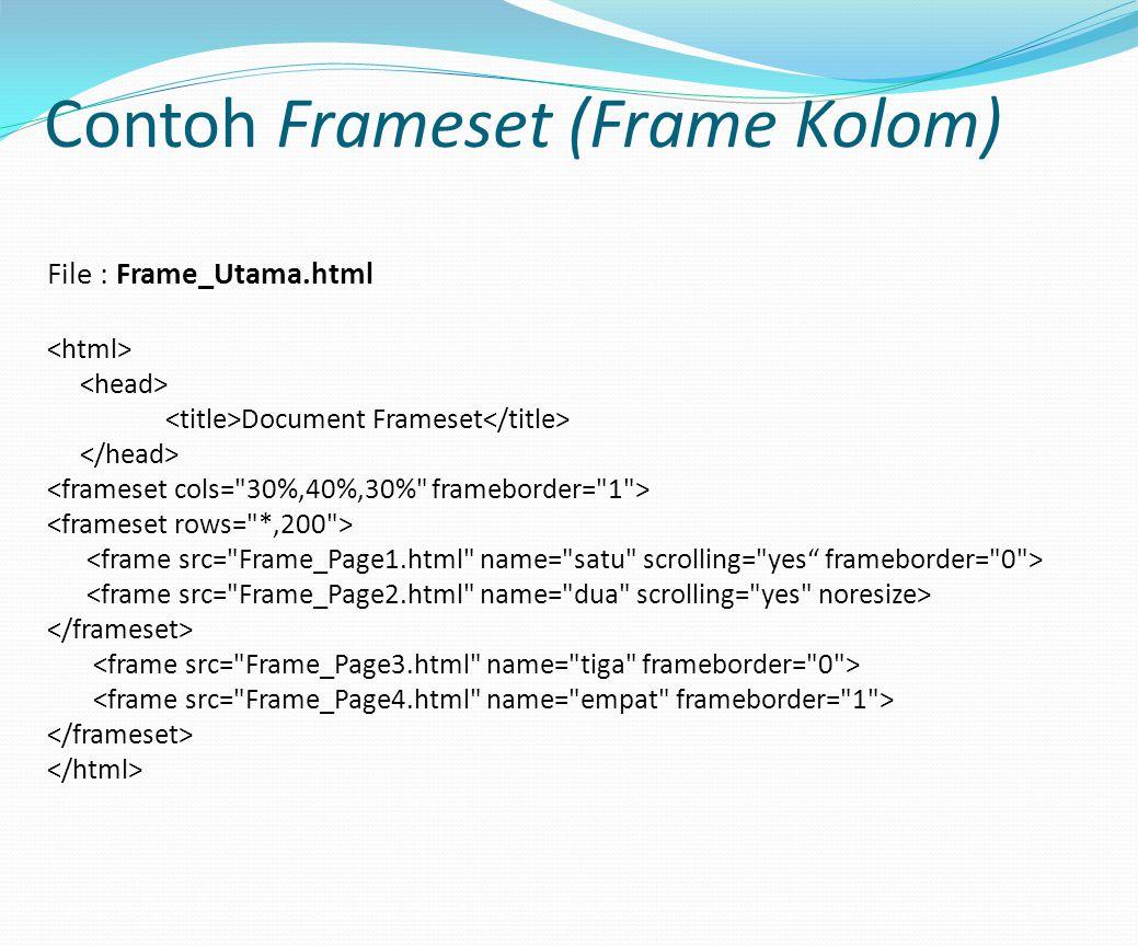 Contoh Frameset (Frame Kolom) File : Frame_Utama.html Document Frameset
