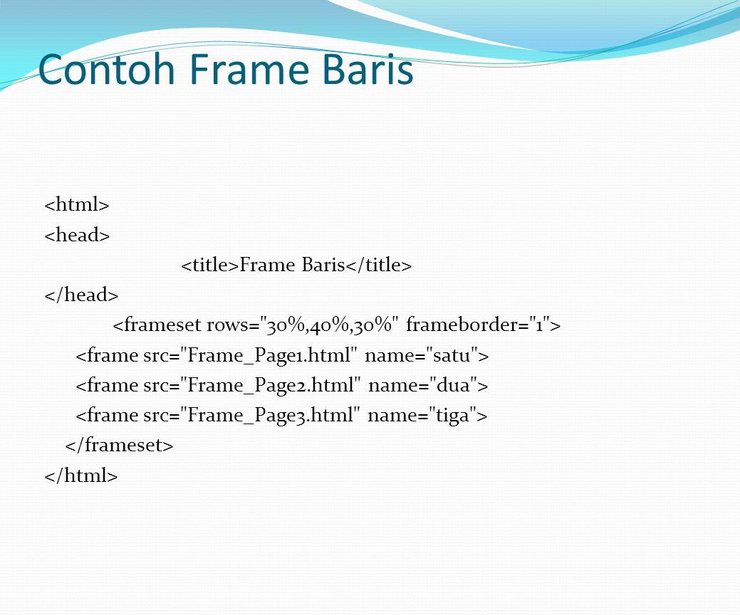 Contoh Frame Baris Frame Baris