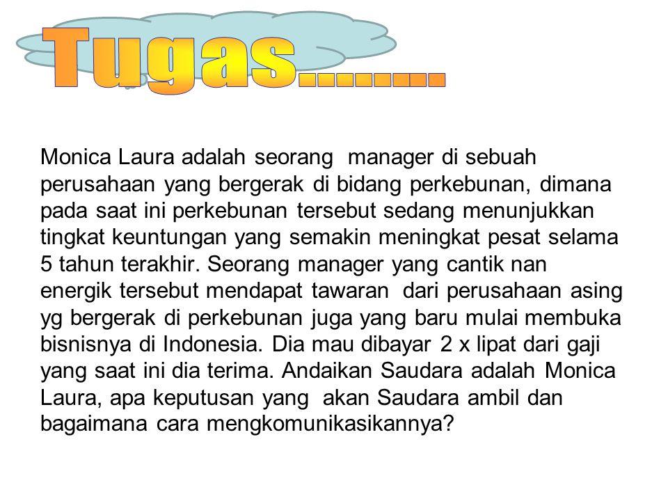 Monica Laura adalah seorang manager di sebuah perusahaan yang bergerak di bidang perkebunan, dimana pada saat ini perkebunan tersebut sedang menunjukk