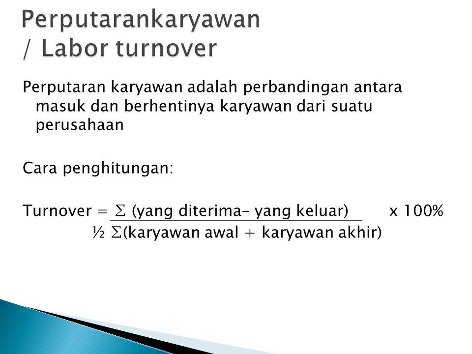 Perputaran karyawan adalah perbandingan antara masuk dan berhentinya karyawan dari suatu perusahaan Cara penghitungan: Turnover = ∑ (yang diterima– ya