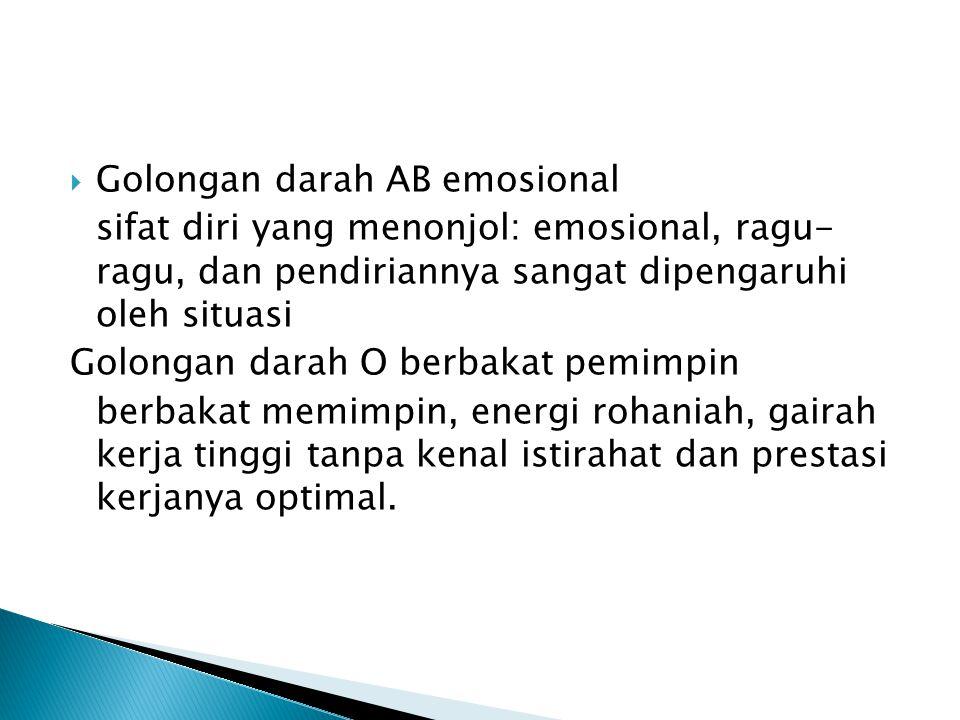  Golongan darah AB emosional sifat diri yang menonjol: emosional, ragu- ragu, dan pendiriannya sangat dipengaruhi oleh situasi Golongan darah O berba