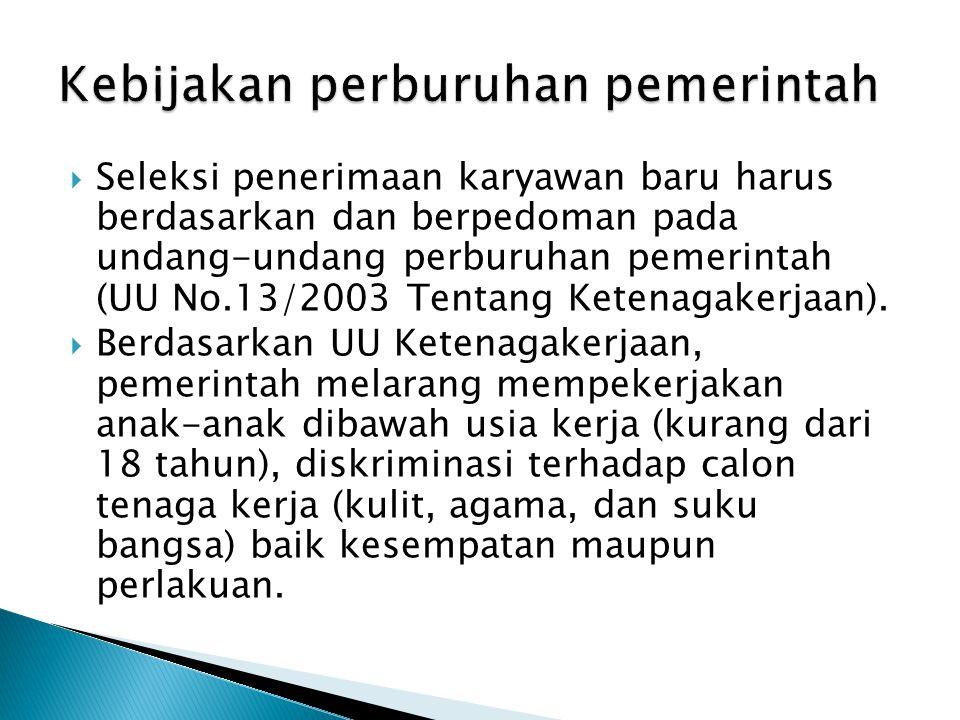  Seleksi penerimaan karyawan baru harus berdasarkan dan berpedoman pada undang-undang perburuhan pemerintah (UU No.13/2003 Tentang Ketenagakerjaan).