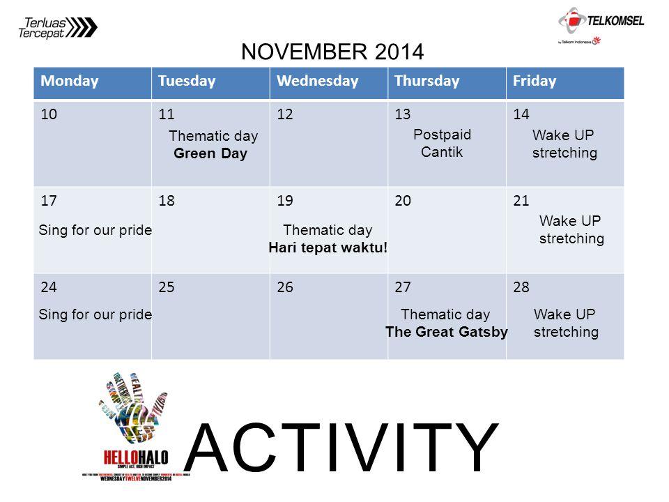 MondayTuesdayWednesdayThursdayFriday 1011121314 1718192021 2425262728 ACTIVITY NOVEMBER 2014 Thematic day Green Day Wake UP stretching Thematic day Th